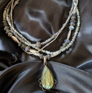 Jewelry - Handmade labradorite necklace & earrings